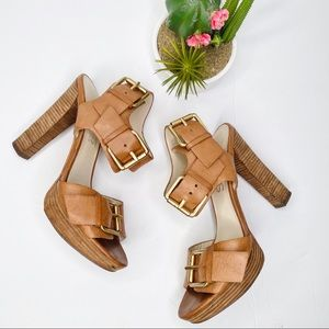 KORS Michael Kors Tan Leather Platform Sandals